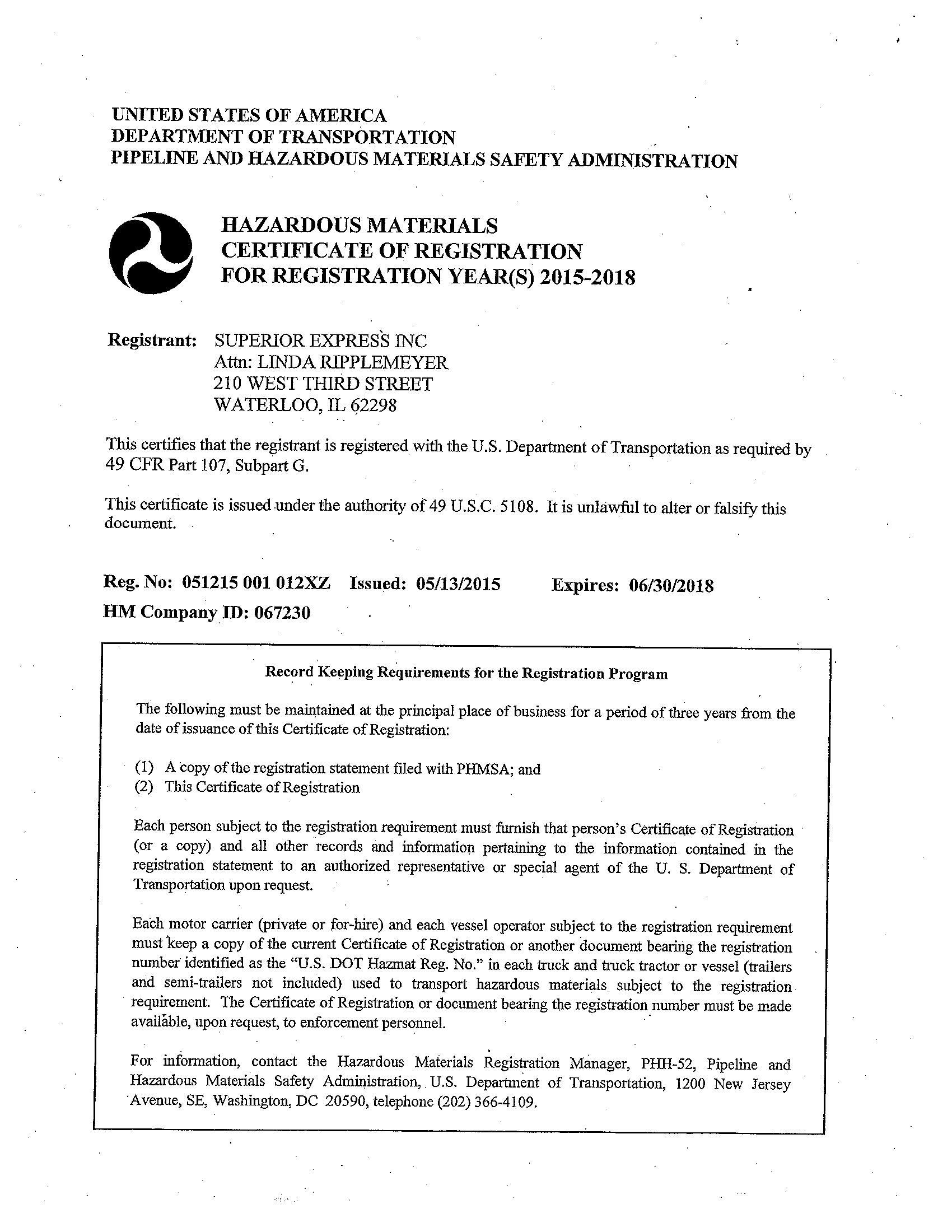 Superior expressinc documents documents hazardous material 1betcityfo Images
